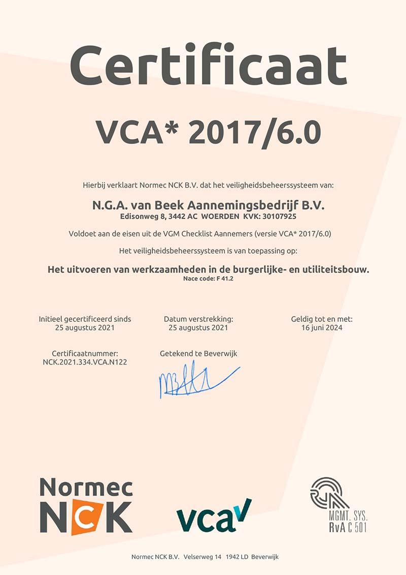 vca 2017 6.0 certificaat
